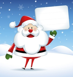 Santa claus with white sign in christmas snow scen vector
