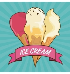 Vintage ice cream with ribbon dessert design vector