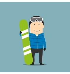 Snowboarder character in ski wear with snowboard vector