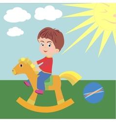 A boy on horseback vector