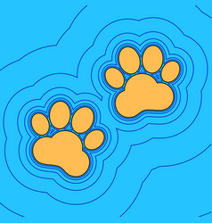 Animal tracks sign sand color icon with vector