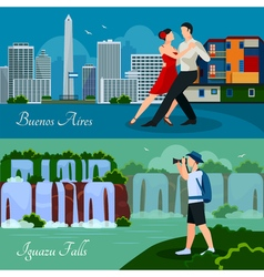 Argentina culture nature 2 flat banners vector