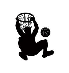 Basketball player dunking ball vector