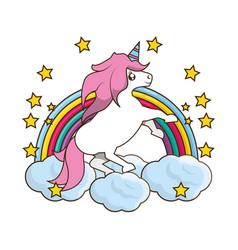 Beautiful cute unicorn running over soft cloud vector