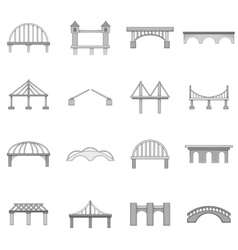 Bridge construction icons set monochrome style vector