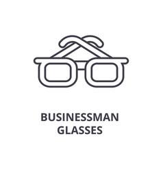 businessman glasses line icon outline sign vector image
