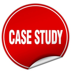 Case study round red sticker isolated on white vector