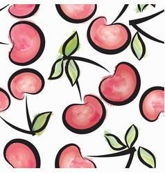 Cherry watercolor seamless pattern juicy fruits vector