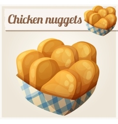 Chicken nuggets in the paper basket Detailed vector image vector image
