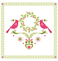 Christmas Card - Birds with Christmas Wreath vector image vector image