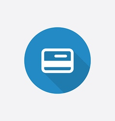credit card Flat Blue Simple Icon with long shadow vector image vector image