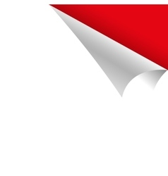 Curled white paper corner with red background vector