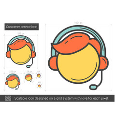 customer service line icon vector image vector image