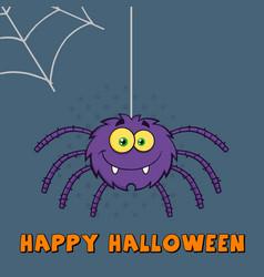 Funny purple halloween spider vector