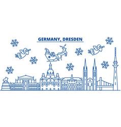 Germany dresden winter city skyline merry vector