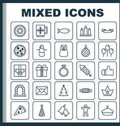 Happy icons set collection of mitten shortcake vector