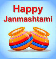Happy krishna janmashtami greeting post card easy vector