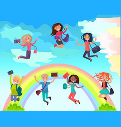 happy students on summer holidays concept vector image vector image