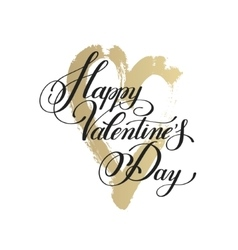 Happy valentines day handwritten lettering on gold vector