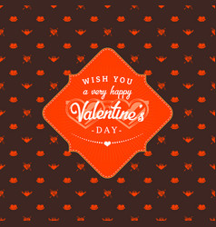 Happy valentines day typography greeting card vector