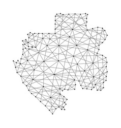 Map of gabon from polygonal black lines and dots vector