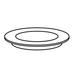 outline plate dish empty round icon vector image