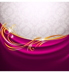 Pink fabric curtain gold vignette vector