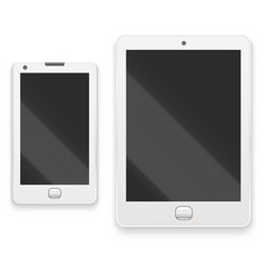 realistic detailed white tablet and phone vector image vector image