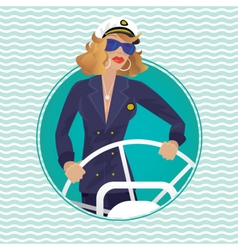 Sea captain female in round water frame with ships vector