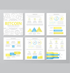 set of colored digital money and bitcoin elements vector image