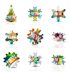 Set of snowflake icons with text labels Christmas vector image