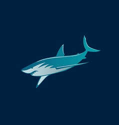 Shark fast moving logo sign on dark background vector image