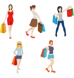 Shopping women clipart fashionable trendy girl c vector