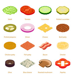 Slice food icons set isometric style vector
