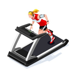 Treadmill gym class working out 3d isometric image vector