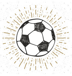 vintage label hand drawn football soccer ball vector image vector image