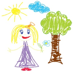 Crayon pained girl with flower vector