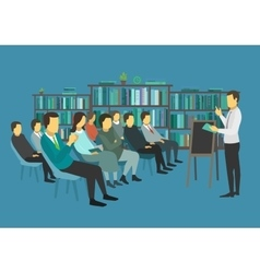 People sit in a room and listen speech speaker vector