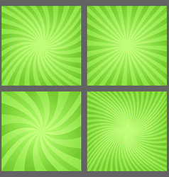 Green spiral and ray burst background set vector