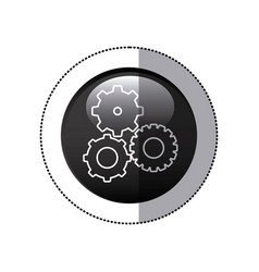 sticker black circular frame with pinions set icon vector image