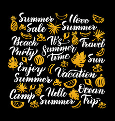 Hello summer calligraphy design vector