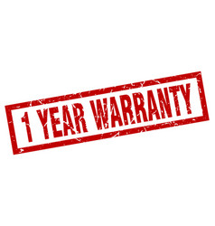Square grunge red 1 year warranty stamp vector