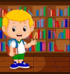 kids in a library vector image