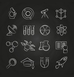 science line icons set on chalkboard vector image