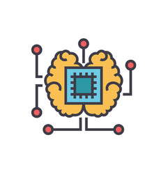 artificial intelligence chip with brain flat line vector image