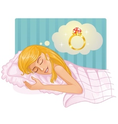 Young beautiful girl dreaming about a ring in the vector image