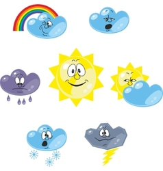 Weather cartoon set 001 vector