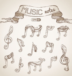 Set of vintage music symbols vector