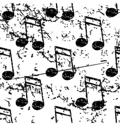 Sixteenth note pattern grunge monochrome vector