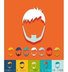 Flat design hairstyle and beard vector